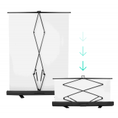 [70574] Pull-Up Hydraulic Free-Standing Backdrop | 120x200cm | White
