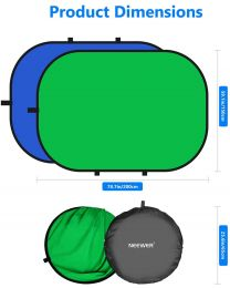 [45022] Neewer 150x200cm Folding Collapsible Backdrop Green/Blue