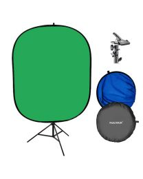 [71600] Collpasible Chroma-Key Green/Blue Backdrop Bundle | Includes Clamp and Stand