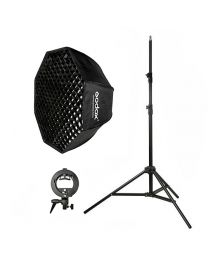 [81599] Godox Bundle | Single Folding Octabox Softbox (Choose 80cm, 95cm or 120cm), Stand and S-Bracket Kit for Speedlights
