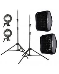 [81565] Godox Bundle | Dual 60x60cm Folding Softbox + Grid, Stand and S-Bracket Kit for Speedlights