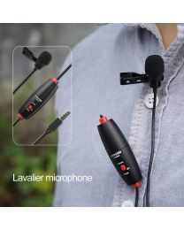 [70783] LensGo Twin Clip-On Omni Lavalier Lapel Microphones | LWM-DM1 Double| 6 meters | For Smartphones (TRRS) & Cameras (TRS)