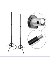 [70626] PVC Vinyl Backdrop + Backdrop Stands Bundle | White (with Black Backing) | Choose Between 2.6x5m or 3.2x6m