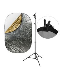 [87555] Reflector Bundle | Large 5-in-1 Reflector (choose 120x180cm or 150x200cm) + 240cm Stand and Clamp Bundle