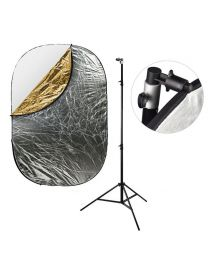 [87413] Reflector Bundle   Large 5-in-1 Reflector (choose 120x180cm or 150x200cm) + 240cm Stand and Clamp Bundle