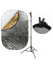 [87466] Reflector Bundle | Large 5-in-1 Reflector (choose 120x180cm or 150x200cm) +  Stand and Clamp Bundle