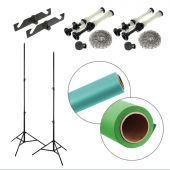 [86261] Dual Paper Backdrop + Backdrop Stands Bundle | Two 2.72x10m Paper Backdrops + Reeling Chain Pulley System | Choose Colours