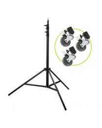 [86526] Light Stand & Wheels Bundle | 2.4m Heavy-Duty Spring-Cushioned Light Stand with Set of 3 Casters