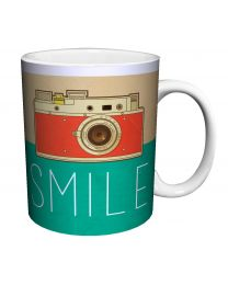 "[70082] Retro Camera ""Smile"" Coffee Mug"