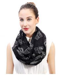 [70080] Lina & Lily Vintage Camera Print Loop Infinity Scarf for Women Lightweight (Black)