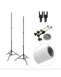 [86299] Single PVC Backdrop + Backdrop Stands Bundle | One 2.72x6m PVC Vinyl Backdrop + Reeling Chain Pulley System | Choose Colour