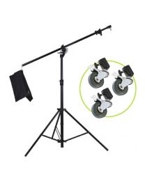 [86528] Boom Stand & Wheels Bundle | M-1 Dual-Function Boom Stand with Set of 3 Casters