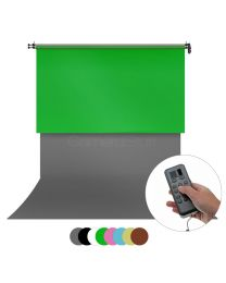 [86258]  Two 2.72m Wide Backdrops & Electronic Backdrop Reeling System Bundle | For Wall or Ceiling |Choose Colours and Backdrop Types