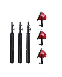 [88421] Video Lighting Kit: 3 x  LED Red Head Lights + Stands