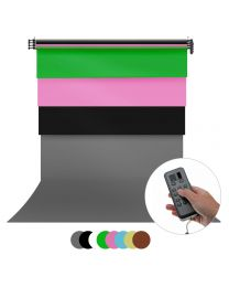 [86255] Four 2.72m Wide Backdrops & Electronic Backdrop Reeling System Bundle | For Wall or Ceiling |Choose Colours and Backdrop Types
