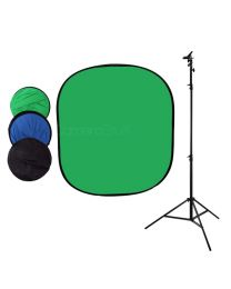 [87414] Collapsible 150x200cm Chromakey Green & Blue Double-Sided Backdrop + Holder Bundle
