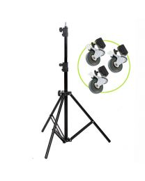 [86527] Light Stand & Wheels Bundle | 1.9m Lightweight Light Stand with Set of 3 Casters
