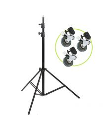 [86525] Light Stand & Wheels Bundle   3.2m Heavy-Duty Air-Cushioned Light Stand with Set of 3 Casters