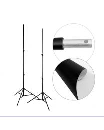 [87745]  PVC Vinyl Backdrop + Backdrop Stands Bundle | White (with Black Backing) | 1.37x3m