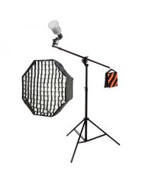 [83292] LED Softbox Continuous Lighting Kit | 1 x 40w LED Bulb | 80cm Octabox Softbox + Boom Stand