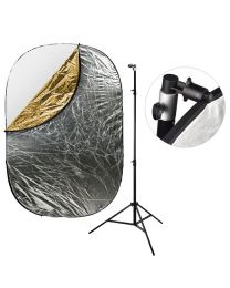 [87413] Reflector Bundle | Large 5-in-1 Reflector (choose 120x180cm or 150x200cm) + 240cm Stand and Clamp Bundle