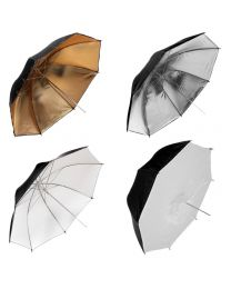 [89474] Umbrella Bundle | 4 x Lighting Umbrellas (Silver, White, Gold, Umbrella Softbox) | Choose between 84cm and 109cm