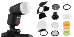 [88988] Godox Bundle: Godox V1 Round Head Speedlight + AK-R1 Magnetic Flash Modifier Kit